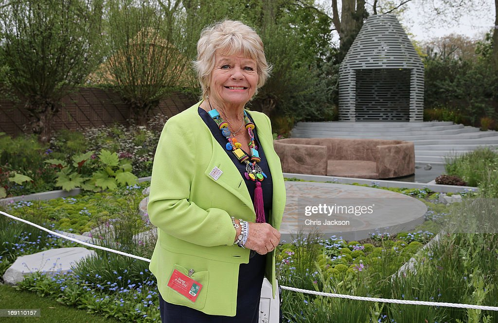 Judith Chalmers poses in the B&Q Sentebale 'Forget-Me-Not' Garden at the Chelsea Flower Show at Royal Hospital Chelsea on May 20, 2013 in London, England. The B&Q Sentebale 'Forget Me Not' Garden was designed by renowned garden designer Jinny Blom and includes native Lesotho flowers and a contemporary pavilion based on a Traditional Basotho roundhouse. The garden was built to raise awareness of the work of Prince Harry's charity Sentebale and the plight of the children of this small African Kingdom.