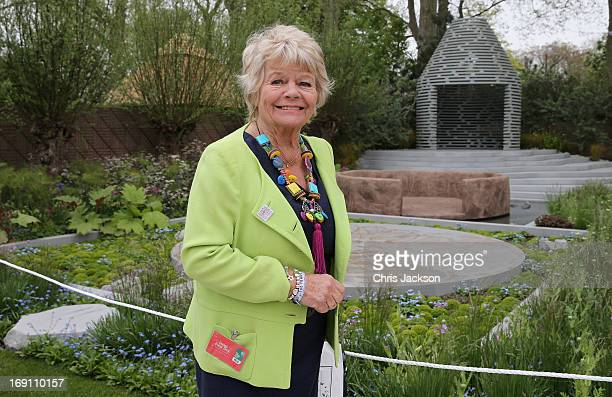 Judith Chalmers poses in the BQ Sentebale 'ForgetMeNot' Garden at the Chelsea Flower Show at Royal Hospital Chelsea on May 20 2013 in London England...
