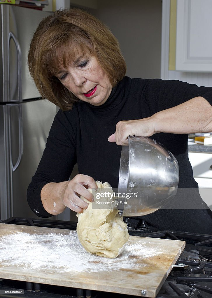 Judith Fertig puts the dough on a floured surface for rolling and kneading.