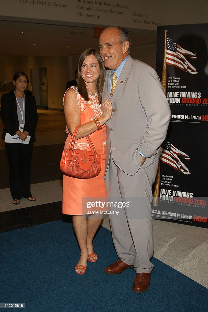 Judith Giuliani and Rudolph Giuliani during The Screening of HBO Sports' 'Nine Innings From Ground Zero' at The American Museum of Natural History in...