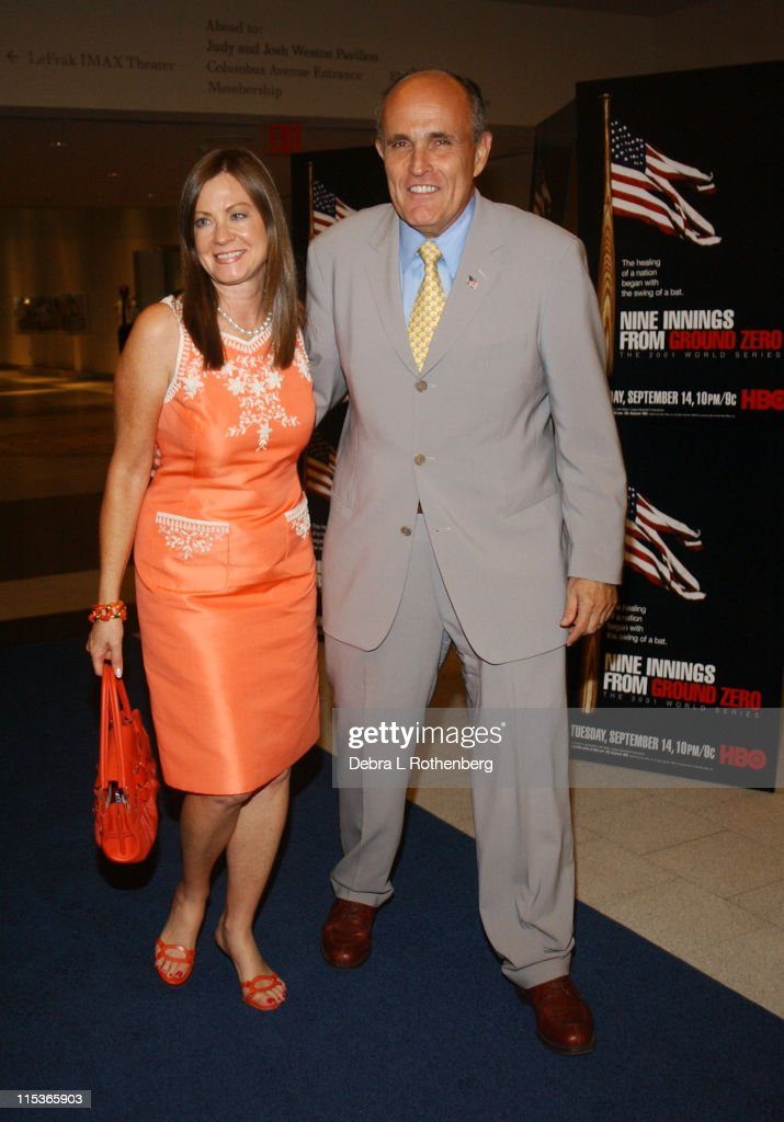 Judith Giuliani and Rudolph Giuliani during The Screening of HBO Sports' 'Nine Innings From Ground Zero' at Museum Of Natural History in New York...