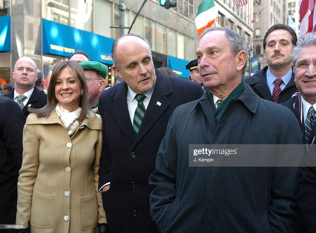 Judith Giuliani Former New York City Mayor Rudolph W Giuliani and New York City Mayor Michael Bloomberg March in the 245th St Patrick's Day Parade In...