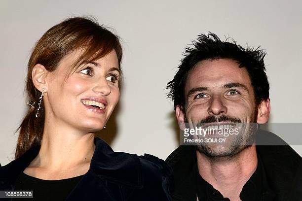 Judith Godreche and Sagamore Stevenin in Paris France on December 13th 2004