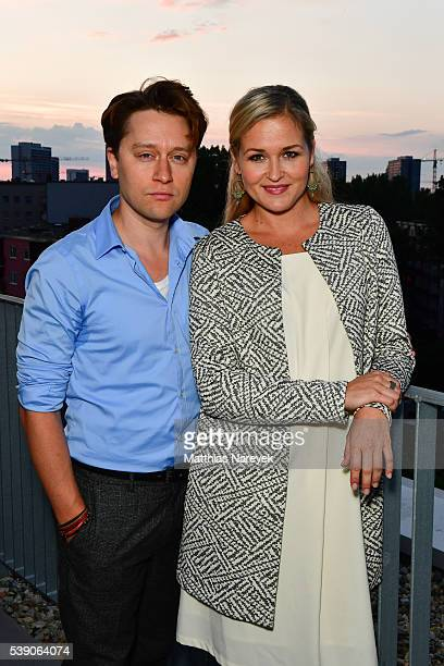 Judith Hoersch and Adrian Topol during the Refinery29 Sunset Cocktail Party on June 9 2016 in Berlin Germany
