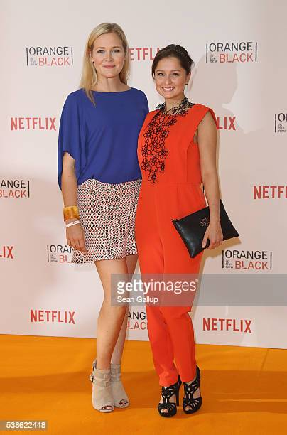 Judith Hoersch and Sarah Alles attend the European premiere of the fourth season of 'Orange Is The New Black' at Kino in der Kulturbrauerei on June 7...