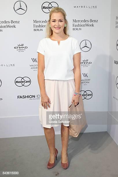 Judith Hoersch attends the Minx by Eva Lutz show during the MercedesBenz Fashion Week Berlin Spring/Summer 2017 at Erika Hess Eisstadion on June 29...