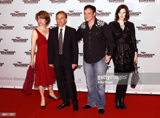 Judith Holste her husband actor Christoph Waltz director Quentin Tarantino and his friend Tallulah Freeway attend the after party of the German...