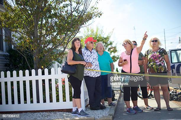 Judith Hummer points to the site of the 'pipe bombstyle device' explosion on September 17 2016 in Seaside Park New Jersey The explosive device...