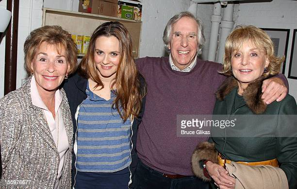 Judith 'Judge Judy' Sheindlin Alicia Silverstone Henry Winkler and Barbara Walters pose backstage at the hit comedy 'The Performers' on Broadway at...