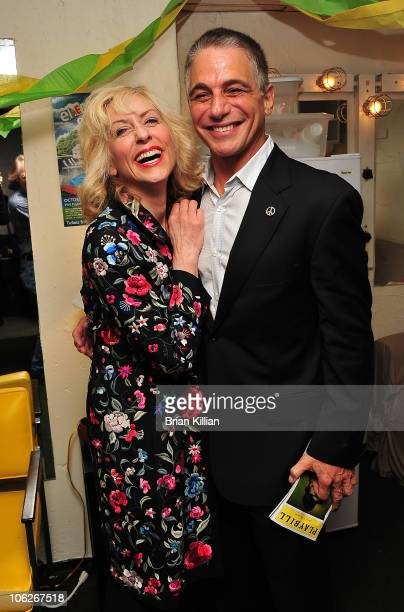 Judith Light and Tony Danza visit the Broadway cast of 'Lombardi' at Circle in the Square Theatre on October 27 2010 in New York City
