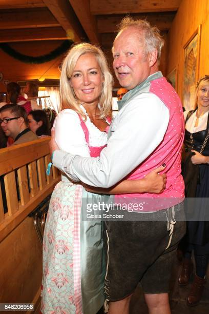 Judith Milberg and her husband Axel Milberg during the 'Fruehstueck bei Tiffany' at Schuetzenfesthalle at the Oktoberfest on September 16 2017 in...