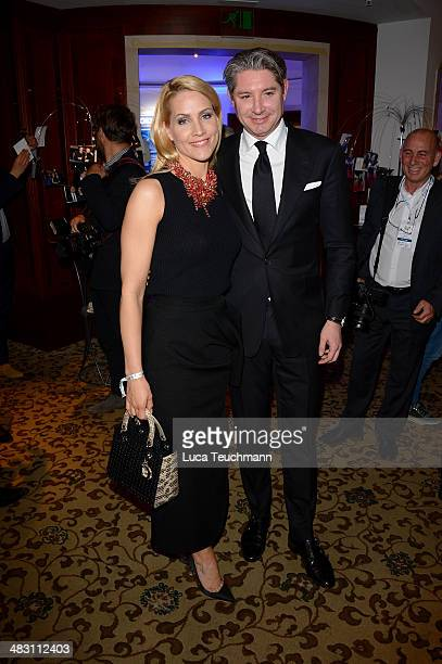 Judith Rakers and Andreas Pfaff attend Felix Burda Award 2014 at Hotel Adlon on April 6 2014 in Berlin Germany