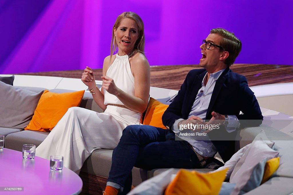 Judith Rakers and Joko Winterscheidt gesture during the 'Wetten dass' TV Show from Dusseldorf at the ISS Dome on February 22 2014 in Duesseldorf...
