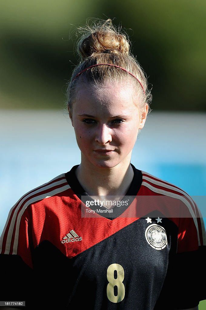 Judith Steinert of Germany during the Women's International Friendly match between England Under 19 Women and Germany Under 19 Women at St George's Park on September 22, 2013 in Burton upon Trent, England.