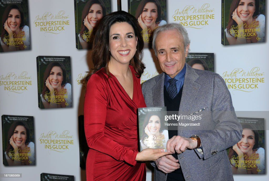 Judith Williams and singer Jose Carreras attend the book launching of 'Stolpersteine ins Glueck' press conference at Hotel Bayerischer Hof on November 6, 2013 in Munich, Germany.