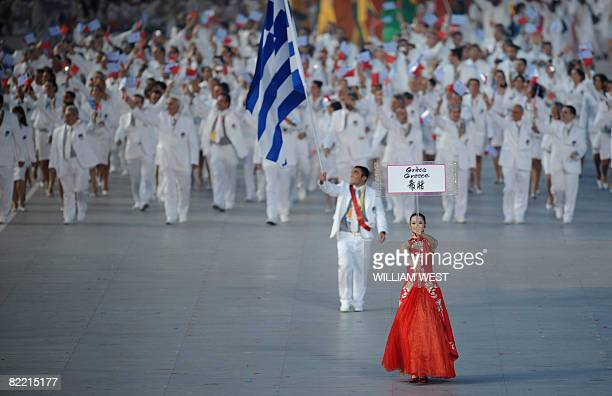 Judo athlete Ilias Iliadis Greece's flag bearer parade with in front of his delegation during the 2008 Beijing Olympic Games opening ceremony on...