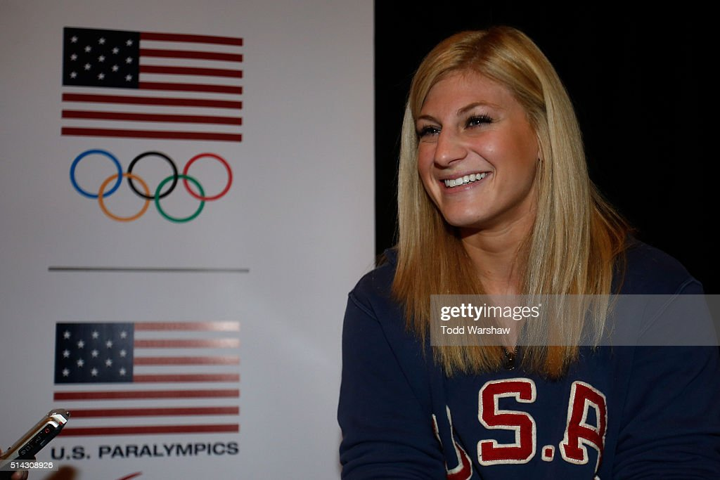 Judo athlete <a gi-track='captionPersonalityLinkClicked' href=/galleries/search?phrase=Kayla+Harrison&family=editorial&specificpeople=7179048 ng-click='$event.stopPropagation()'>Kayla Harrison</a> addresses the media at the USOC Olympic Media Summit at The Beverly Hilton Hotel on March 8, 2016 in Beverly Hills, California.