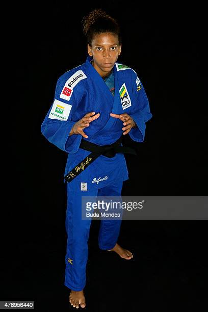 Judo athlete Rafaela Silva of Brazil poses for a portrait during a break from training in preparation for the Toronto 2015 PanAmerican Games at Hotel...