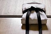 judo vestido con de la correa negra