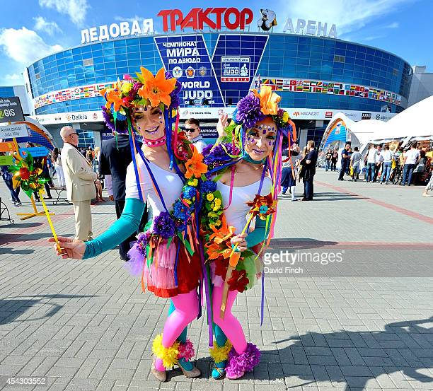 Judo enthusiasts pose outside the Traktor Arena during the Chelyabinsk Judo World Championships at the Sport Arena 'Traktor' on August 28 2014 in...