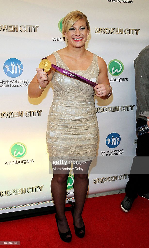 Judo Olympic Gold Medalist <a gi-track='captionPersonalityLinkClicked' href=/galleries/search?phrase=Kayla+Harrison&family=editorial&specificpeople=7179048 ng-click='$event.stopPropagation()'>Kayla Harrison</a> poses as she attends the screening of 'Broken City' hosted by Mark Wahlberg at Patriot Cinemas on January 15, 2013 in Hingham, Massachusetts.