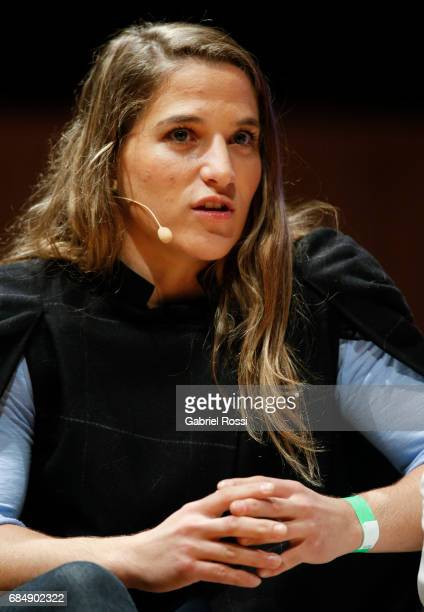Judo olympic gold medalist Paula Pareto speaks during a Media Day of Argentine olympians at Usina del Arte on May 18 2017 in Buenos Aires Argentina