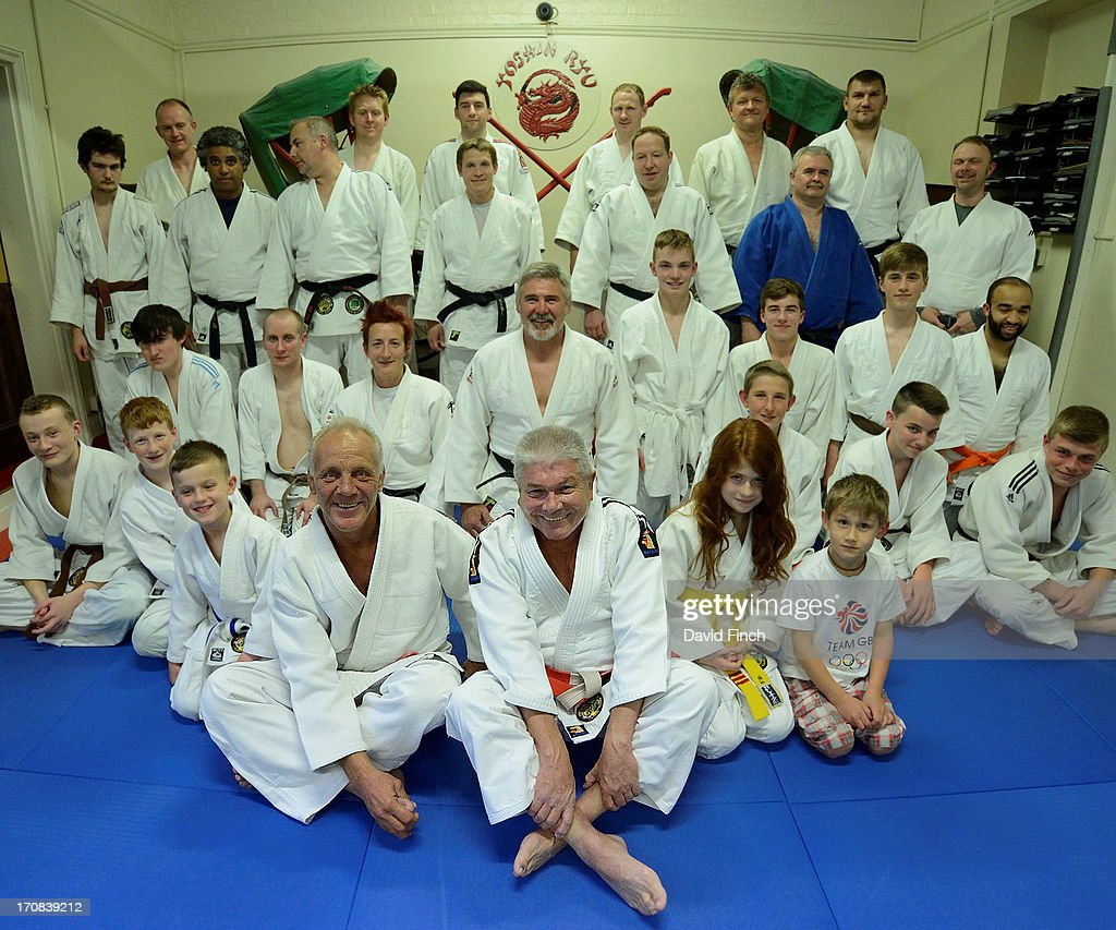 Judo Olympic medallist, European champion and legendary Superstar Champion, Brian Jacks (front left), with Errol Field, the club's founder, after coaching for the evening at the the Yoshin Ryu Judo Club, Coulsdon, Great Britain, on Monday, June 17, 2013.