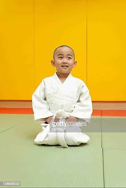 Judo player of a little boy