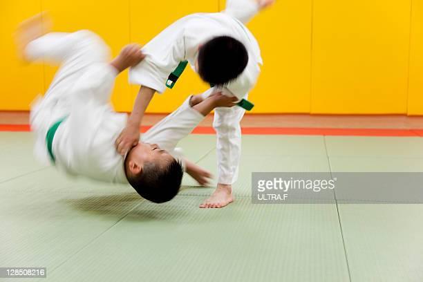 Judo players fighting