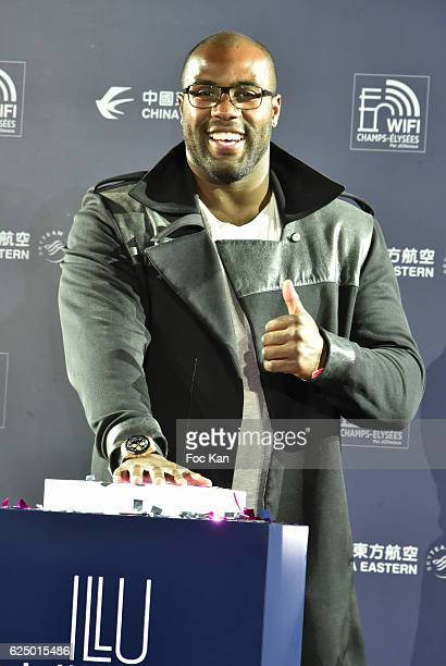 Judoka Champion Teddy Riner launches the Christmas Lights on the Champs Elysees on November 21 2016 in Paris France
