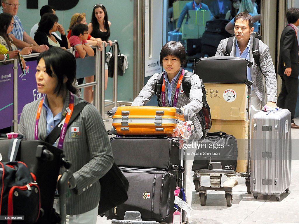 Judoka <a gi-track='captionPersonalityLinkClicked' href=/galleries/search?phrase=Misato+Nakamura&family=editorial&specificpeople=4061483 ng-click='$event.stopPropagation()'>Misato Nakamura</a> is seen upon arrival at Heathrow Airport on July 22, 2012 in London, England.