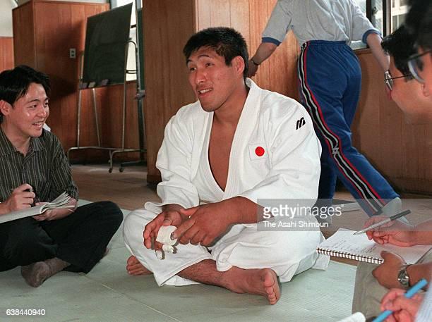 Judoka Shinichi Shinohara speaks to media reporters prior to a training at Tenri University on May 29 2000 in Tenri Nara Japan
