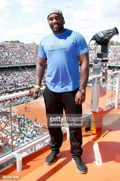 Judoka Teddy Riner poses at France Television french chanel studio during the 2017 French Tennis Open Day Height at Roland Garros on June 4 2017 in...