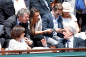 Judoka Thierry Rey guest Laurence Ferrari with her companion Renaud Capucon Mayor of Paris Anne Hidalgo President of FFT Jean Gachassin and his wife...