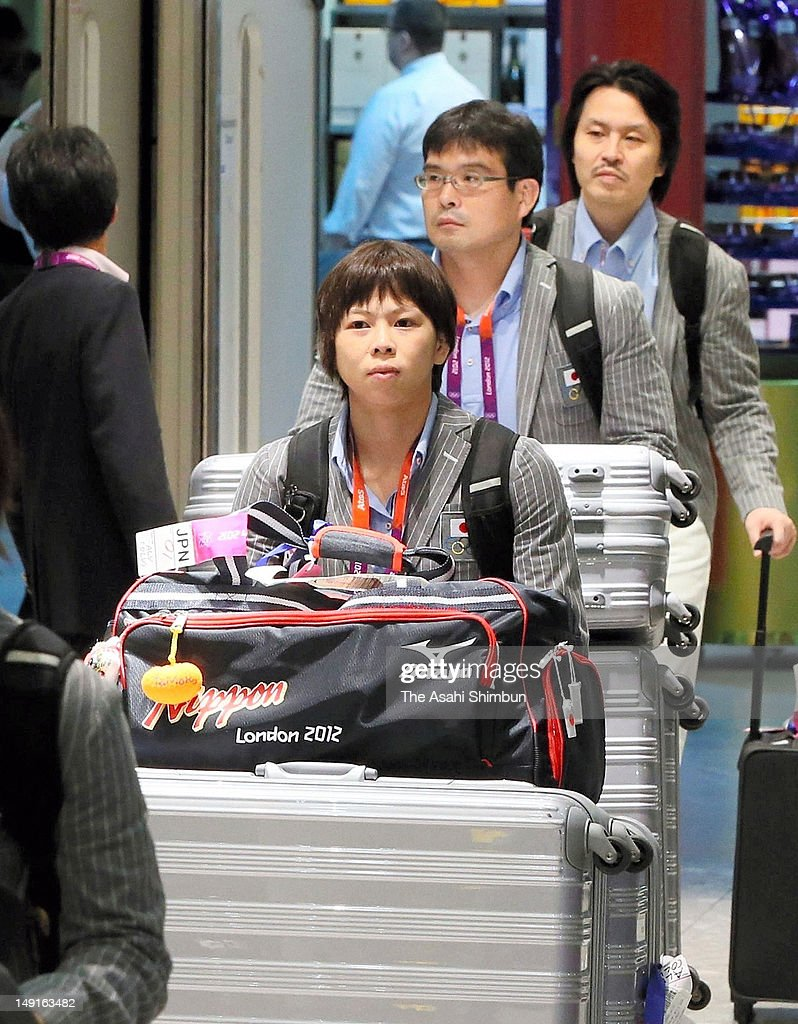 Judoka Tomoko Fukumi is seen upon arrival at Heathrow Airport on July 22, 2012 in London, England.