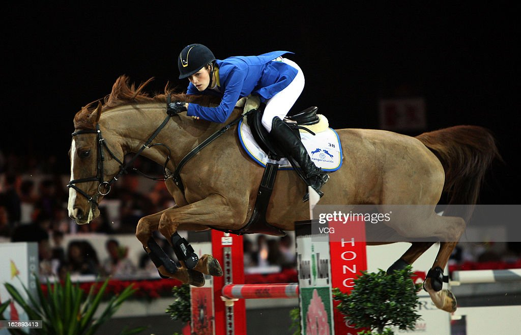 Judy Ann Melchior of Belgium rides Carry Z at the Prix Artemide during the Longines Hong Kong Masters International Show Jumping at Asia World Expo on February 28, 2013 in Hong Kong, Hong Kong.