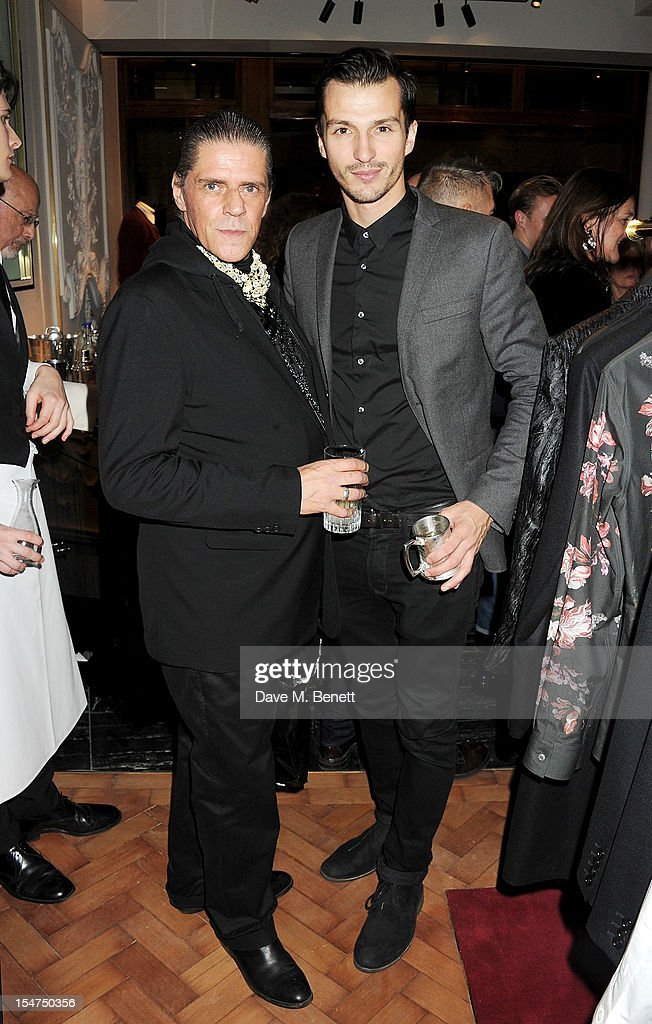Judy Blame (L) and Dylan Garner attend the launch of the Alexander McQueen Menswear boutique on Savile Row on October 25, 2012 in London, England.
