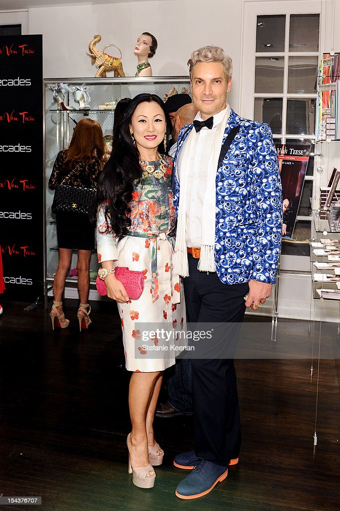 Judy Chang and <a gi-track='captionPersonalityLinkClicked' href=/galleries/search?phrase=Cameron+Silver&family=editorial&specificpeople=546426 ng-click='$event.stopPropagation()'>Cameron Silver</a> attend Dita Von Teese Collection Launch At Decades on October 18, 2012 in Los Angeles, California.