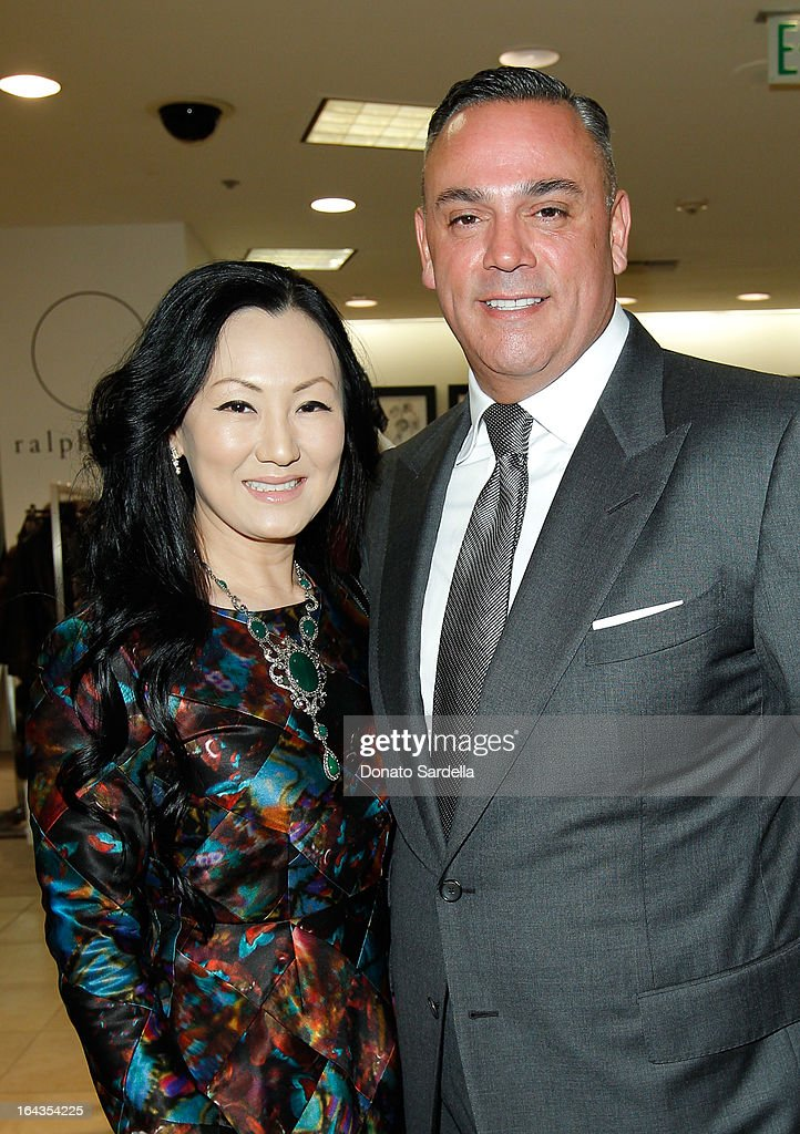 Judy Chang and John Cruz, VP and General manager Saks Beverly Hills attend Saks Fifth Avenue presents designer Ralph Rucci at Saks Fifth Avenue Beverly Hills on March 22, 2013 in Beverly Hills, California.