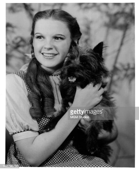 Judy Garland holding her beloved dog Toto in a promotional portrait from the film 'The Wizard Of Oz' 1939
