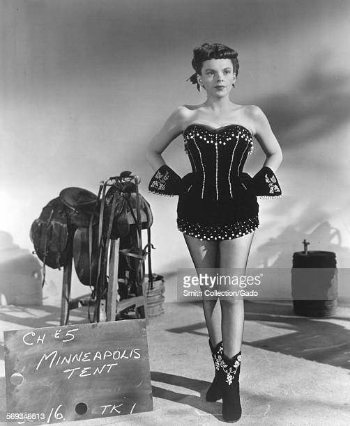 Judy Garland wears a corset during a costume test from Minneapolis Tent scene of the film Annie Get Your Gun 1949