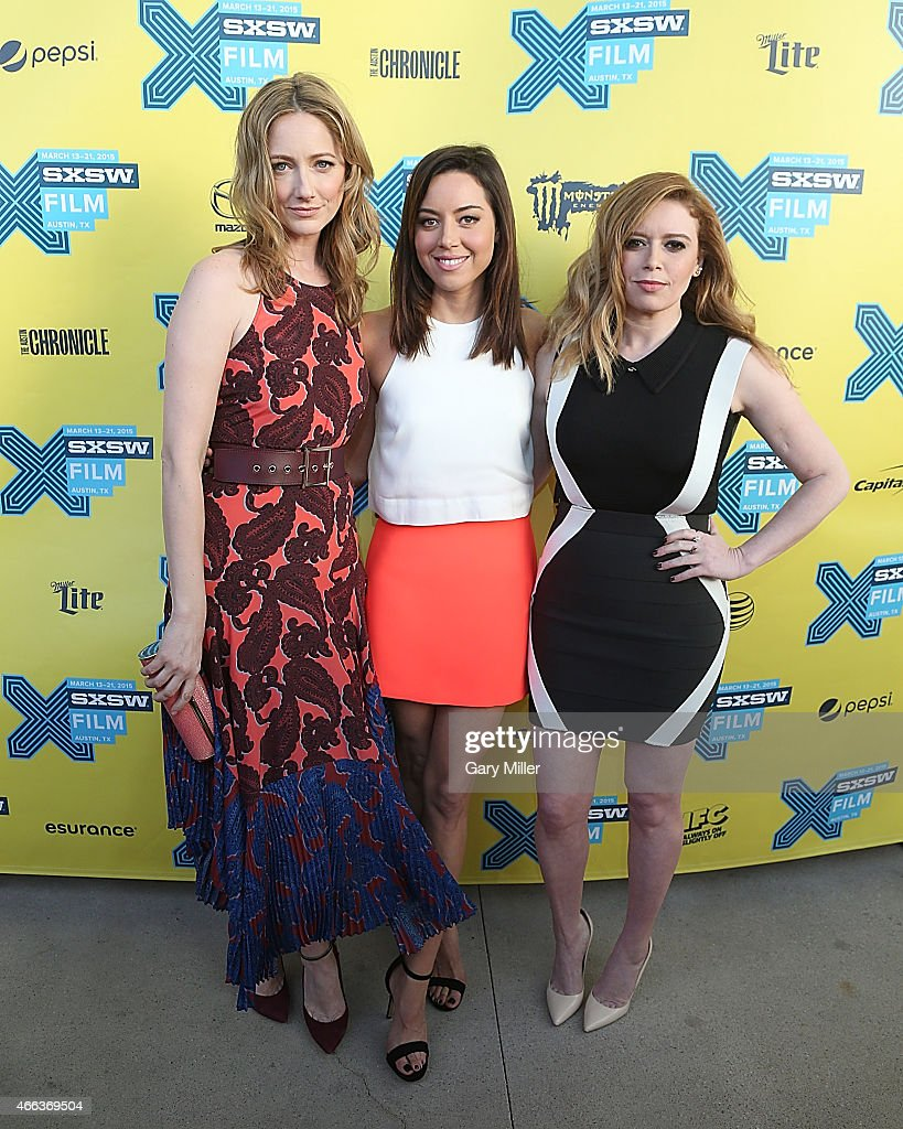 Judy Greer, Aubrey Plaza and Natasha Lyonne pose on the red carpet for the screening of 'Fresno' at the Topfer Theater during the South by Southwest Film Festival on March 14, 2015 in Austin, Texas.