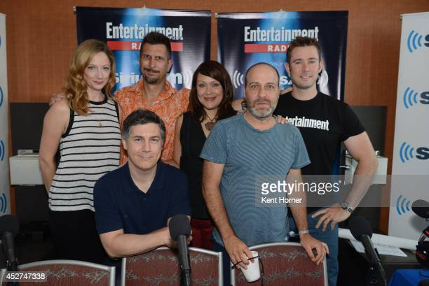 Judy Greer Chris Parnell Lucky Yates Amber Nash and Jon Benjamin pose with radio host Matt Bean after being interviewed on SiriusXM's Entertainment...