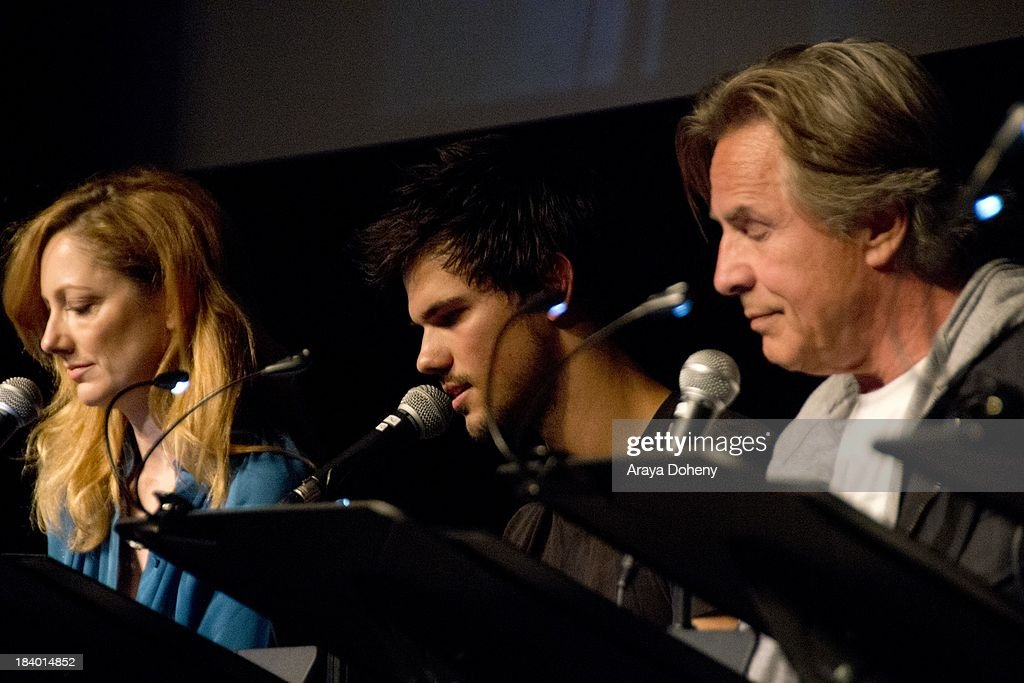 Judy Greer, Taylor Lautner and Don Johnson at the Film Independent at LACMA - 'Boogie Nights' live read directed by Jason Reitman at Bing Theatre At LACMA on October 10, 2013 in Los Angeles, California.