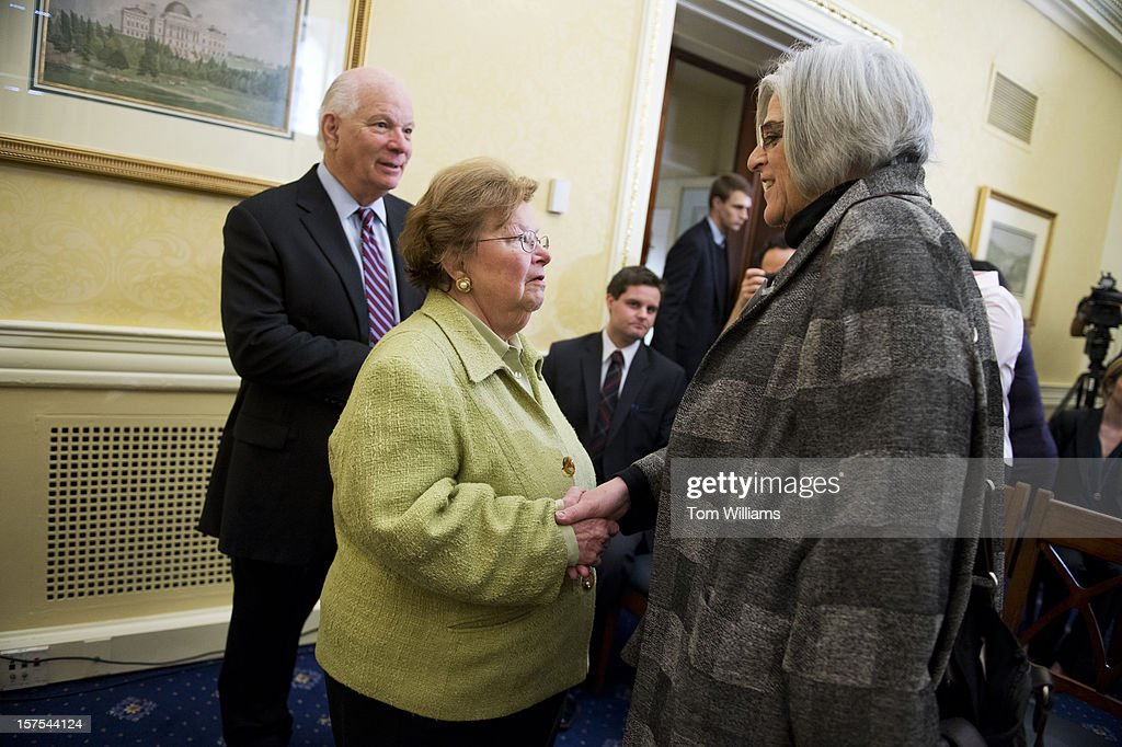 Judy Gross, right, greets Sen. Barbara Mikulski, D-Md., as Sen. Ben Cardin, D-Md., looks on, before a news conference in the Capitol on a resolution calling on Cuba to release Gross's husband and Maryland native Alan Gross, from prison. Gross was arrested while helping establish internet connections in a Cuban jewish community and has been imprisoned for three years.
