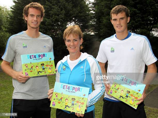 Judy Jamie and Andy Murray pose as they play games with children from Singlegate Primary School and their parents during the Set4Sport launch on June...