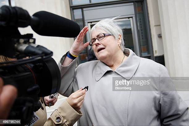 Judy Jones Peterson whose brother Dean Jones died in the Massey Energy Co coal mine explosion in 2010 speaks to the media outside the Robert C Byrd...