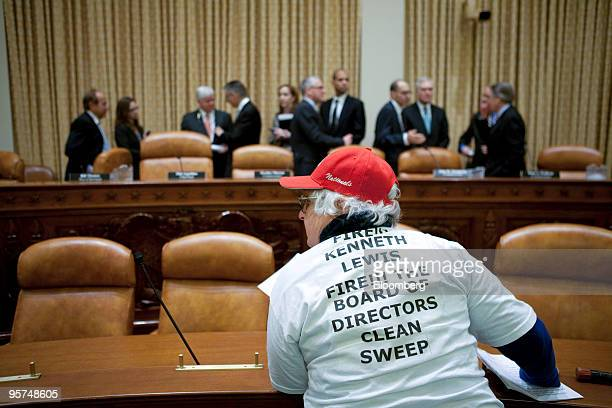 Judy Koenick wearing a shirt calling for the firing of former Bank of America executive Kenneth Lewis delivers a letter of protest to the Financial...