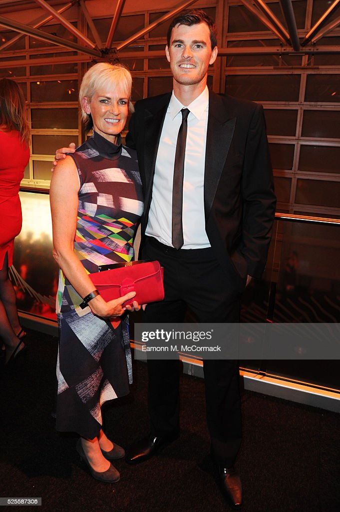 <a gi-track='captionPersonalityLinkClicked' href=/galleries/search?phrase=Judy+Murray&family=editorial&specificpeople=582324 ng-click='$event.stopPropagation()'>Judy Murray</a> and son Jamie pose at the BT Sport Industry Awards 2016 at Battersea Evolution on April 28, 2016 in London, England. The BT Sport Industry Awards is the most prestigious commercial sports awards ceremony in Europe, where over 1750 of the industry's key decision-makers mix with high profile sporting celebrities for the most important networking occasion in the sport business calendar.