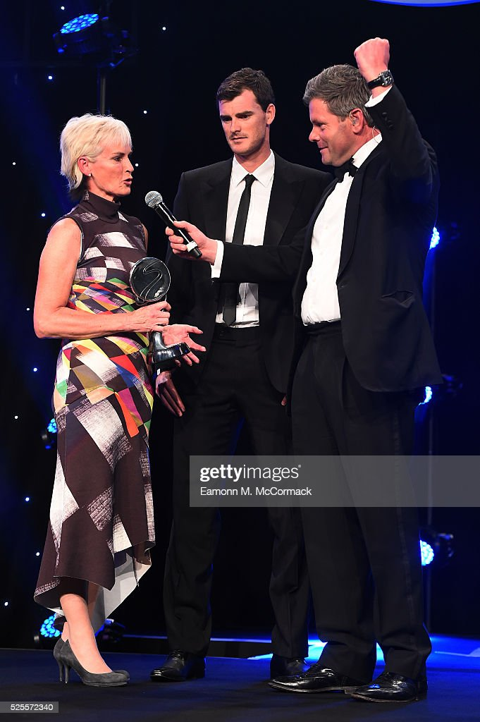 <a gi-track='captionPersonalityLinkClicked' href=/galleries/search?phrase=Judy+Murray&family=editorial&specificpeople=582324 ng-click='$event.stopPropagation()'>Judy Murray</a> and son Jamie talk to Mark Durden-Smith after receiving The Coutts Lifetime Achievement award from Prince Harry at the BT Sport Industry Awards 2016 at Battersea Evolution on April 28, 2016 in London, England. The BT Sport Industry Awards is the most prestigious commercial sports awards ceremony in Europe, where over 1750 of the industry's key decision-makers mix with high profile sporting celebrities for the most important networking occasion in the sport business calendar.